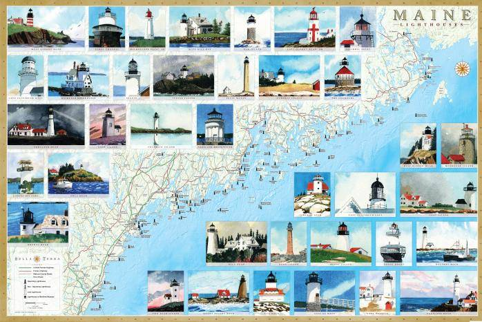 Maine Lighthouses Map & Guide L10030