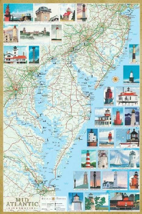 Mid-Atlantic Lighthouses Map & Guide L10050
