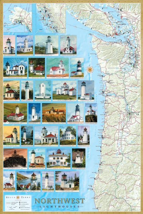 Northwest Lighthouses Map & Guide L10060