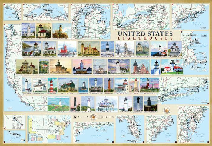 United States Lighthouses Map & Guide L10080