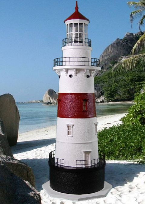 4 Foot - Latimer Reef, NY Deluxe Stucco Lawn Lighthouse