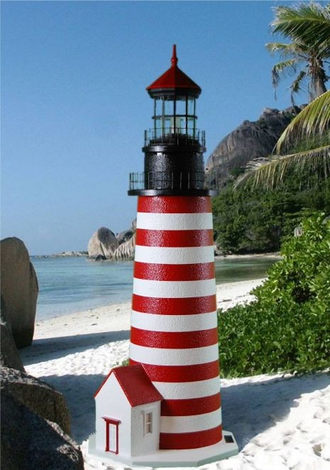 4 Foot - West Quoddy, ME Deluxe Stucco Lawn Lighthouse