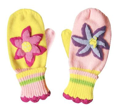 Lotus Flower Knit Mittens