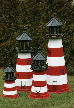 Amish Painted Wooden Lawn Lighthouse - Assateague, VA - 4'