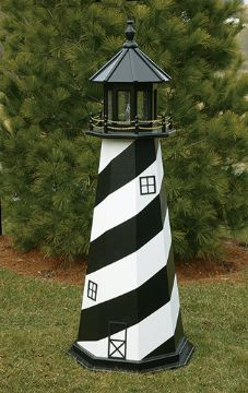 Amish Painted Wooden Lawn Lighthouse - Cape Hatteras, NC - 2'