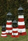Amish Painted Wooden Lawn Lighthouse - Assateague, VA - 3'