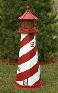 Amish Painted Wooden Lawn Lighthouse - White Shoal, MI - 3'