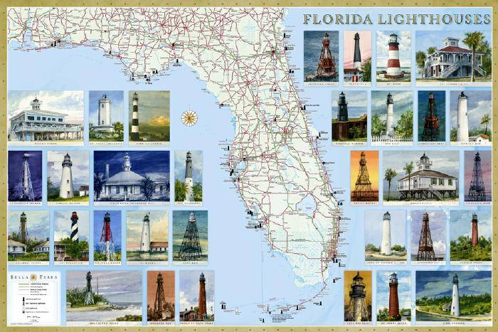 Florida Lighthouse Map  Illustrated guide map to Florida lighthouses