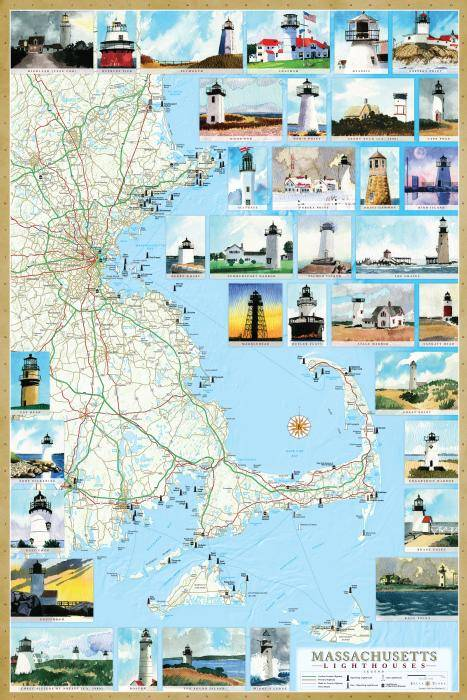 Florida Lighthouses Map.Massachusetts Lighthouse Maps Illustrated Guide Map To