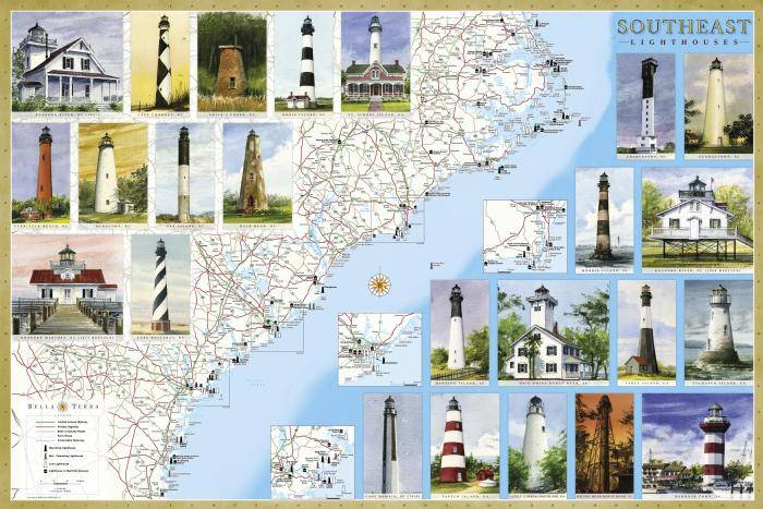 Southeast Lighthouse Maps Illustrated Guide Map To Southeast Lighthouses