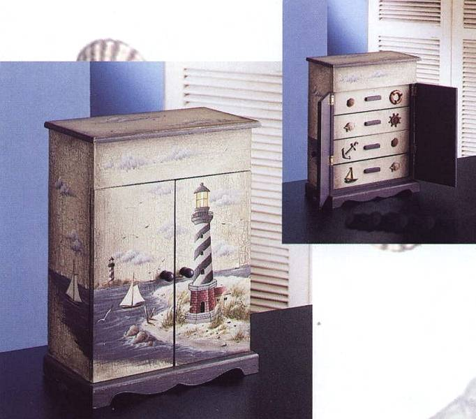 Beau Lighthouse Hand Painted Wooden Cabinet